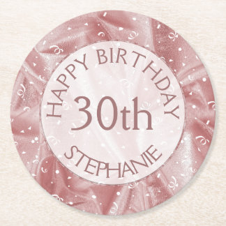 "Personalize: ""Happy Birthday"" Pink Textured Round Paper Coaster"