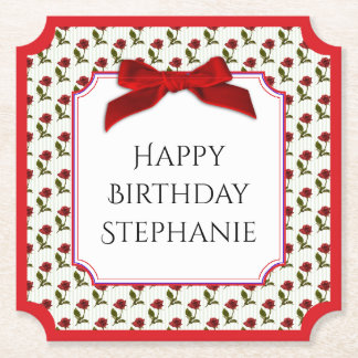 Personalize: Happy Birthday Red Roses Pattern Paper Coaster