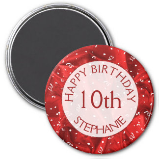 """Personalize: """"Happy Birthday"""" Red Textured Round Magnet"""