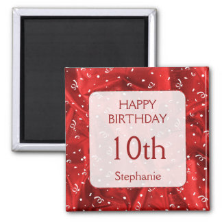 "Personalize: ""Happy Birthday"" Red Textured Square Magnet"