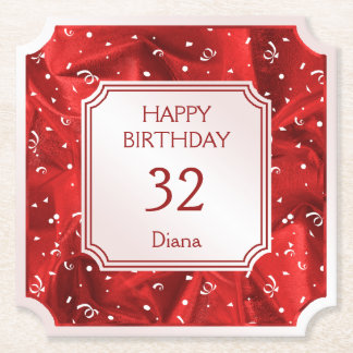Personalize: Happy Birthday Red Ticket Shape Paper Coaster
