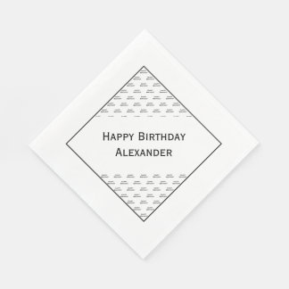 """Personalize:  """"Happy Birthday"""" Typography Pattern Disposable Napkins"""