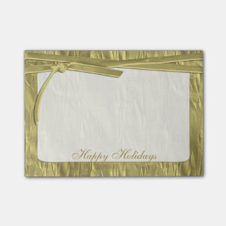 "Personalize ""Happy Holidays"" Gold Crumpled Paper Post-it Notes"
