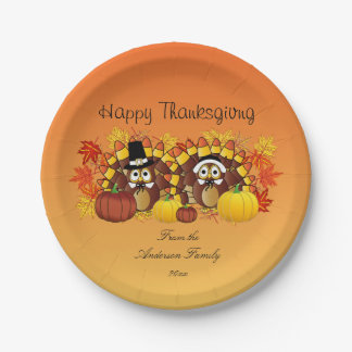 Personalize Happy Thanksgiving Owl Turkey Pilgrims 7 Inch Paper Plate