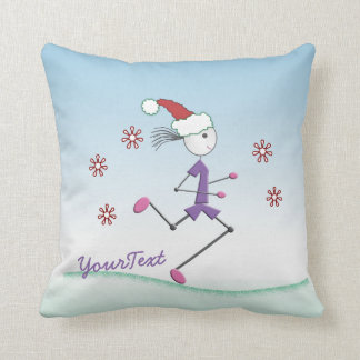 Personalize - Holiday Girl Runner Throw Pillow
