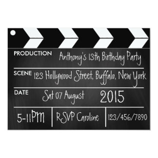 Personalize Hollywood Movie Theme Party Chalkboard 13 Cm X 18 Cm Invitation Card