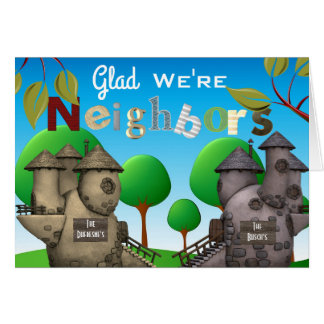 """Personalize Homes """"Glad We're Neighbors"""" Thank You Card"""
