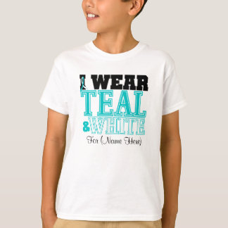 Personalize I Wear Teal and White Cervical Cancer T-Shirt