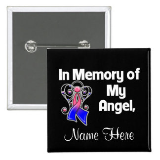 Personalize In Memory Angel Male Breast Cancer Pin