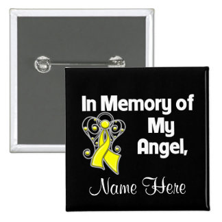 Personalize In Memory Angel Testicular Cancer Pinback Button