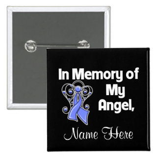 Personalize In Memory of My Angel Stomach Cancer Pinback Buttons