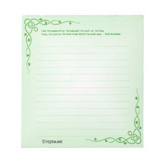 Personalize:  Irish Blessing (#2) Celtic Braids Notepad