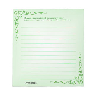 Personalize:  Irish Blessing (#4) Celtic Braids Notepads