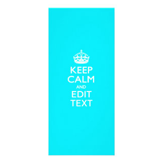 Personalize Keep Calm Your Text Turquoise Blue Rack Card