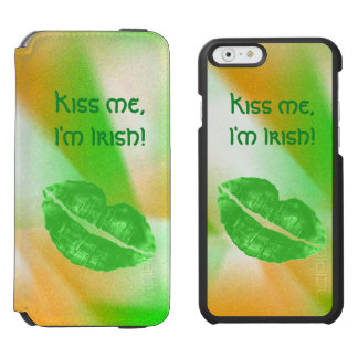 "Personalize ""Kiss me I'm Irish"" Abstract Pattern Incipio Watson™ iPhone 6 Wallet Case"