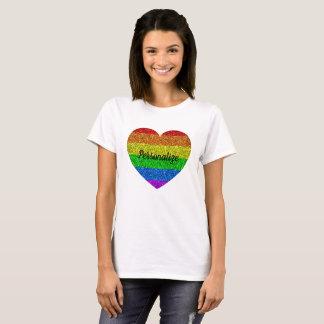 Personalize LGBT flag vibrant sparkles heart T-Shirt