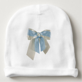 Personalize, Light Blue and white bow Baby Beanie