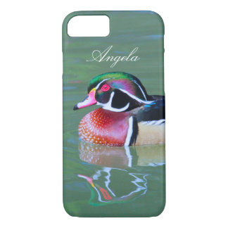 Personalize Male Wood Duck on pond iPhone 7 Case