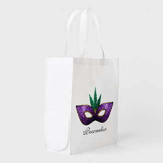 Personalize Mardi Gras Mask Purple Green Sparkles Reusable Grocery Bag