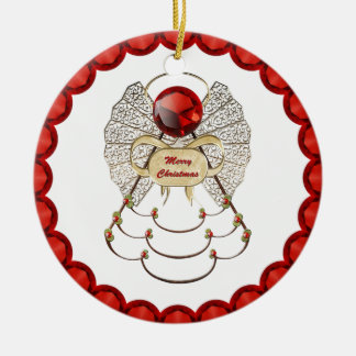 Personalize: Merry Christmas Angel Ornament