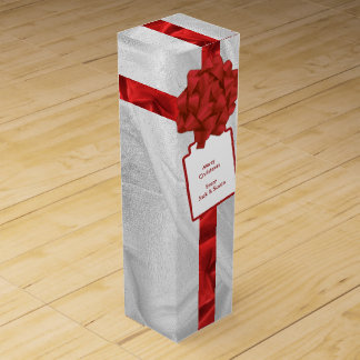"""Personalize: """"Merry Christmas"""" Red Textured Wine Box"""