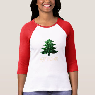 Personalize Merry Christmas tree green sparkles T-Shirt