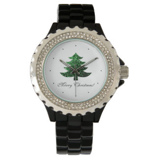 Personalize Merry Christmas tree green sparkles Watch