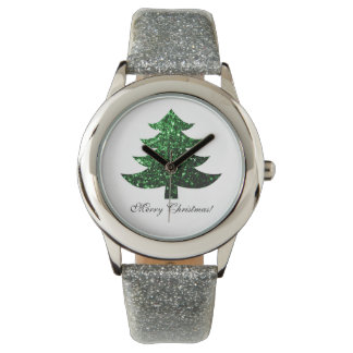 Personalize Merry Christmas tree green sparkles Watches