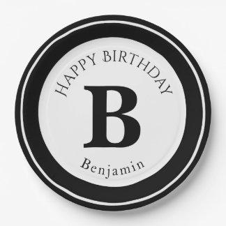 Personalize: Minimalist Circle Bold Black Initial Paper Plate