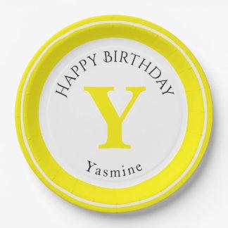 Personalize: Minimalist Circle Bold Yellow Initial Paper Plate