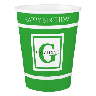 Personalize: Minimalist Square BoId Green Initial Paper Cup
