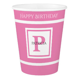 Personalize: Minimalist Square BoId Pink Initial Paper Cup