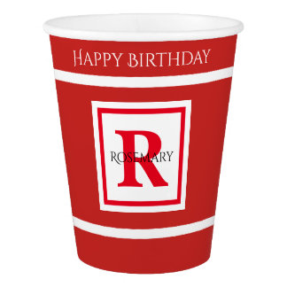Personalize: Minimalist Square BoId Red Initial Paper Cup