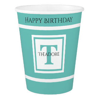 Personalize: Minimalist Square BoId Teal Initial Paper Cup