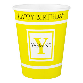 Personalize: Minimalist Square BoId Yellow Initial Paper Cup
