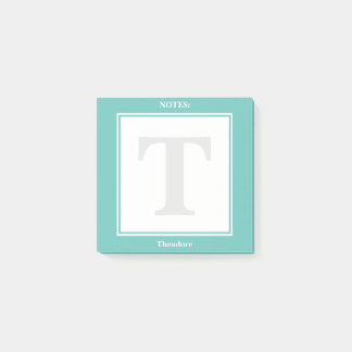 Personalize: Minimalist Teal and White Geometric Post-it Notes