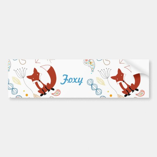 Personalize Modern Foxy  Woodland Bumper Sticker