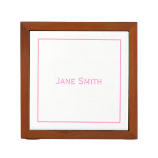 Personalize:  Modern Minimal Pink and White Desk Organiser
