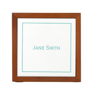 Personalize:  Modern Minimal Teal and White Desk Organiser
