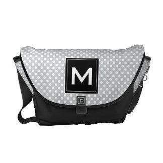 Personalize Modern Monogram Polka Dots & Stripes Courier Bag