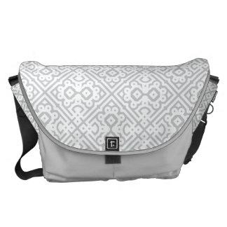 Personalize Modern Moroccan Monogram, Gray Messenger Bag
