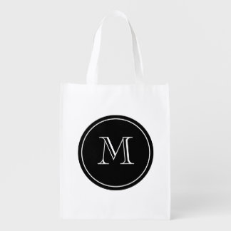 Personalize monogram reusable grocery shopping bag