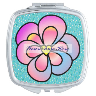 Personalize Multi-Colored Flower Compact Mirror
