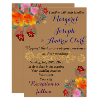 Personalize multicolor floral golden, wedding card