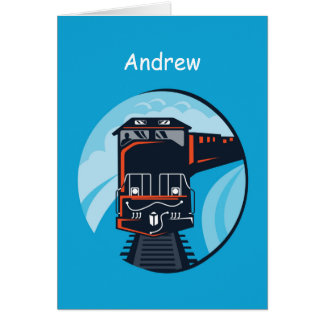Personalize Name, Age 7th Birthday Train Card