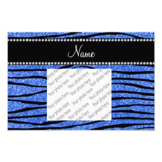 Personalize name blue glitter zebra stripes art photo