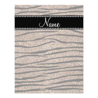 Personalize name brown glitter zebra stripes flyers