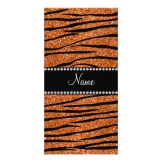 Personalize name burnt orange glitter zebra stripe customized photo card