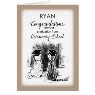 Personalize Name Congratulations on Veterinary  Gr Card