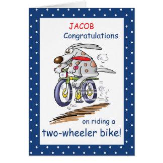 Personalize Name Congratulations Riding Bike, Funn Card